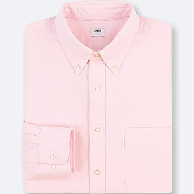 MEN OXFORD REGULAR FIT LONG-SLEEVE SHIRT (ONLINE EXCLUSIVE), PINK, medium