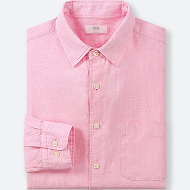MEN PREMIUM LINEN LONG-SLEEVE SHIRT, PINK, medium