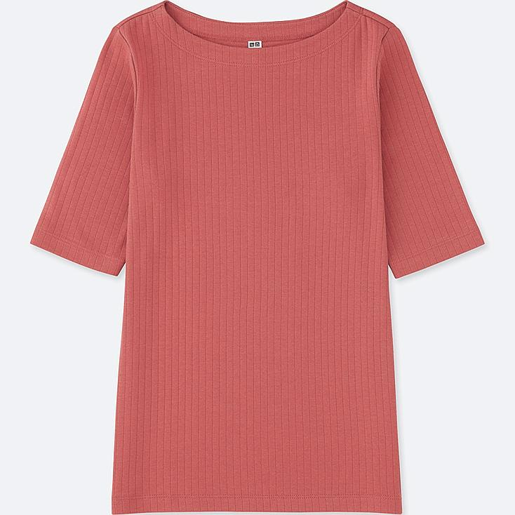 WOMEN RIBBED BOAT NECK HALF-SLEEVE T-SHIRT, PINK, large