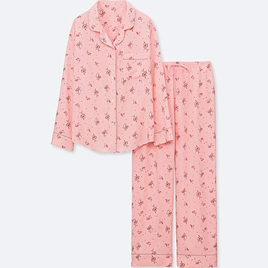 WOMEN RAYON LONG-SLEEVE PRINTED PAJAMAS, PINK, medium