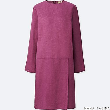 WOMEN PREMIUM LINEN TUCK LONG-SLEEVE TUNIC