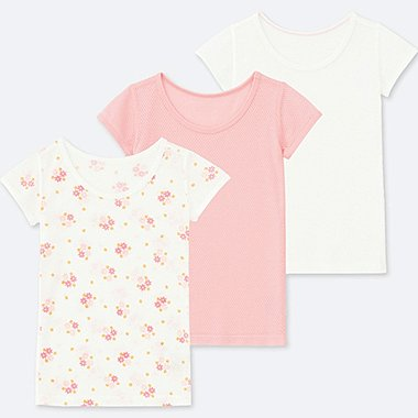 TODDLER COTTON MESH SHORT-SLEEVE T-SHIRT (SET OF 3), PINK, medium