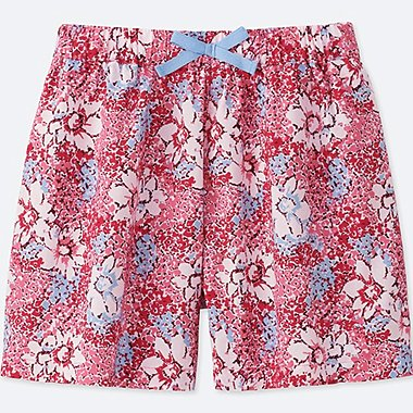 GIRLS PRINTED EASY FLARE SHORTS, PINK, medium