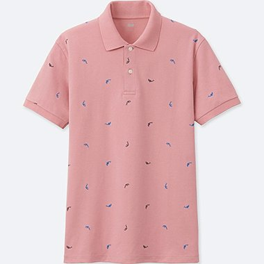 MEN DRY PIQUE PRINTED SHORT-SLEEVE POLO SHIRT, PINK, medium