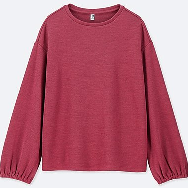 GIRLS CREW NECK GATHERED LONG SLEEVE T-SHIRT