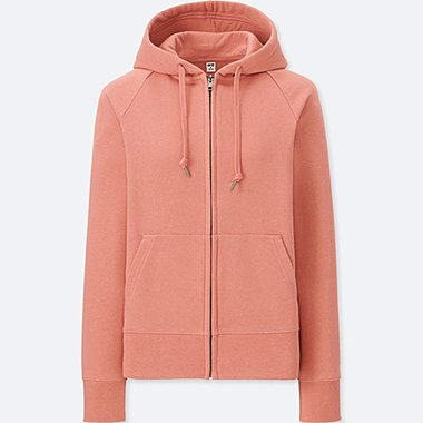 WOMEN SWEAT LONG-SLEEVE FULL-ZIP HOODIE, PINK, medium