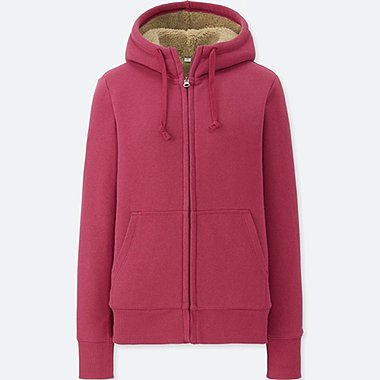 WOMEN PILE-LINED SWEAT LONG-SLEEVE FULL-ZIP HOODIE, PINK, medium