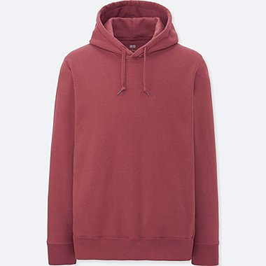 MEN LONG-SLEEVE HOODED SWEATSHIRT, PINK, medium