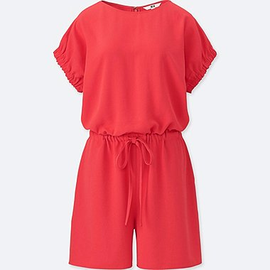 WOMEN DRAPE SHORT-SLEEVE ROMPER (ONLINE EXCLUSIVE), PINK, medium