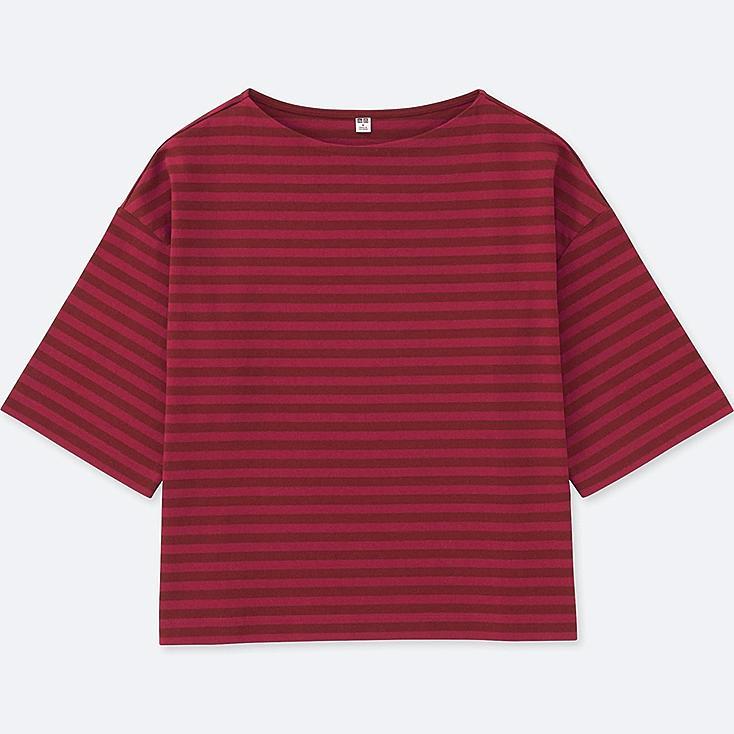 Women Striped Wide 3/4 Sleeve T Shirt by Uniqlo
