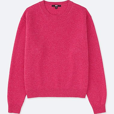 WOMEN PREMIUM LAMBSWOOL CREWNECK SWEATER, PINK, medium