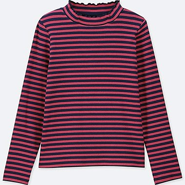 GIRLS STRIPED RIBBED FRILL HIGH NECK LONG SLEEVE T-SHIRT