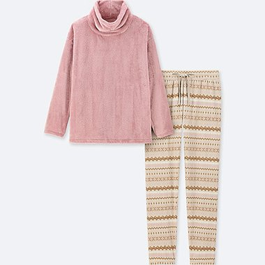 WOMEN LONG-SLEEVE FAIR ISLE FLEECE SET, PINK, medium