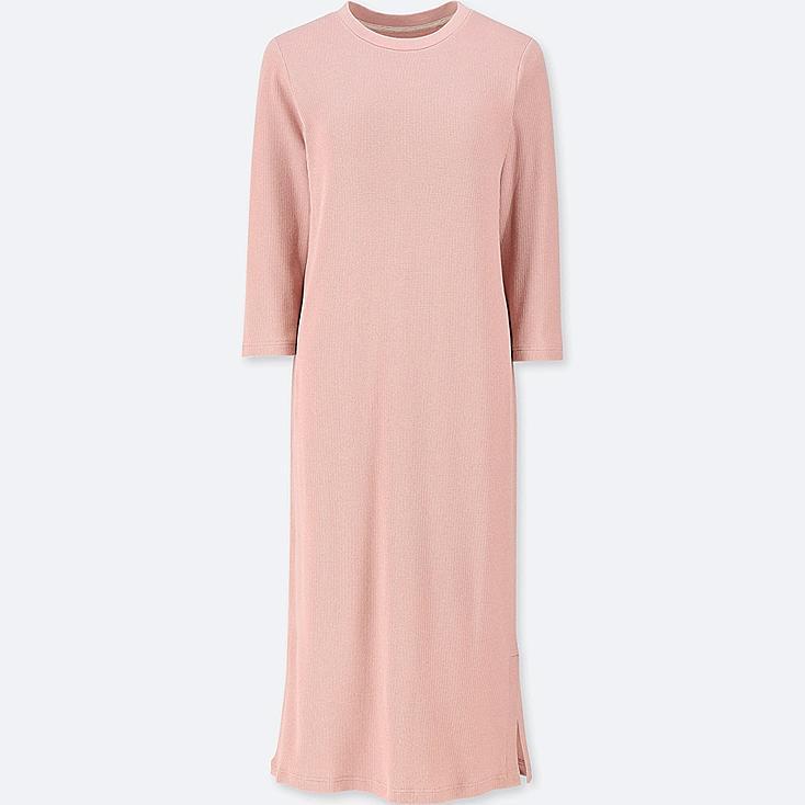 WOMEN WAFFLE 3/4 SLEEVE RELAX BRA DRESS, PINK, large