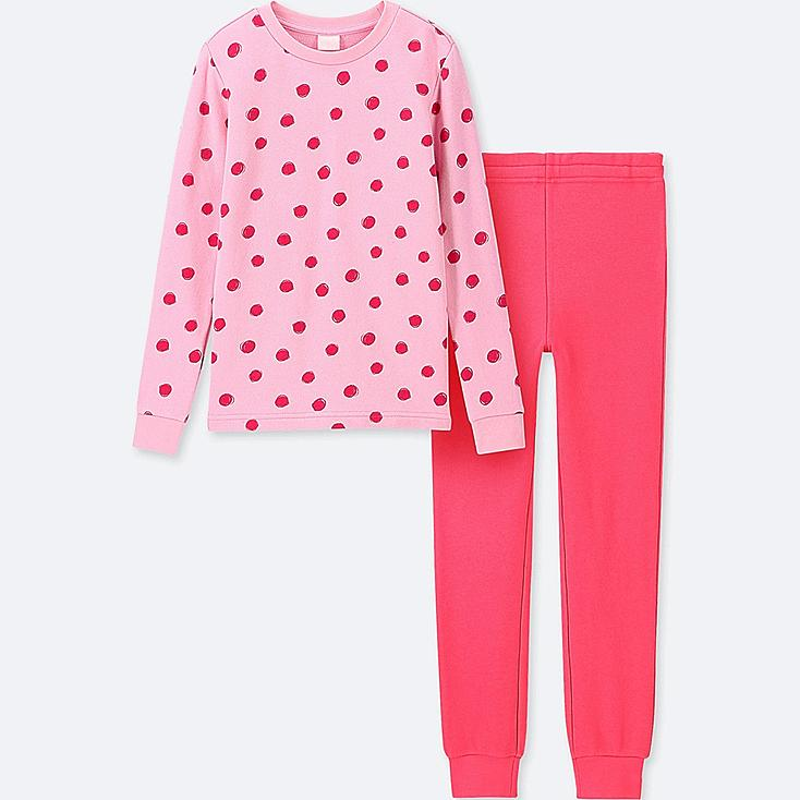 GIRLS ULTRA STRETCH LONG-SLEEVE SWEAT SET, PINK, large