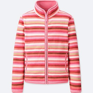 GIRLS PRINTED FLEECE LONG-SLEEVE JACKET, PINK, medium