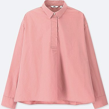 WOMEN EXTRA FINE COTTON A-LINE LONG-SLEEVE SHIRT, PINK, medium