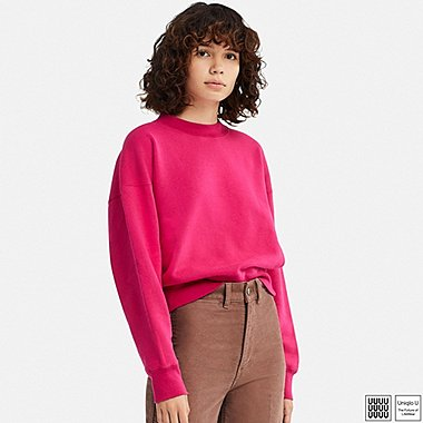 WOMEN U CREWNECK LONG-SLEEVE SWEATSHIRT, PINK, medium