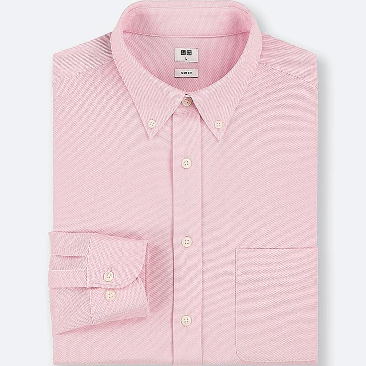 MEN EASY CARE COMFORT LONG-SLEEVE SHIRT, PINK, large