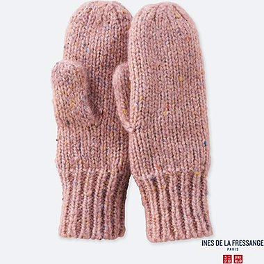 WOMEN KNITTED MITTENS (INES DE LA FRESSANGE), PINK, medium