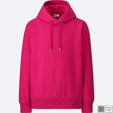 MEN U LONG-SLEEVE HOODED SWEATSHIRT, PINK, medium