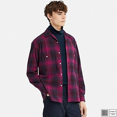 MEN UNIQLO U FLANNEL OPEN COLLAR LONG SLEEVE SHIRT