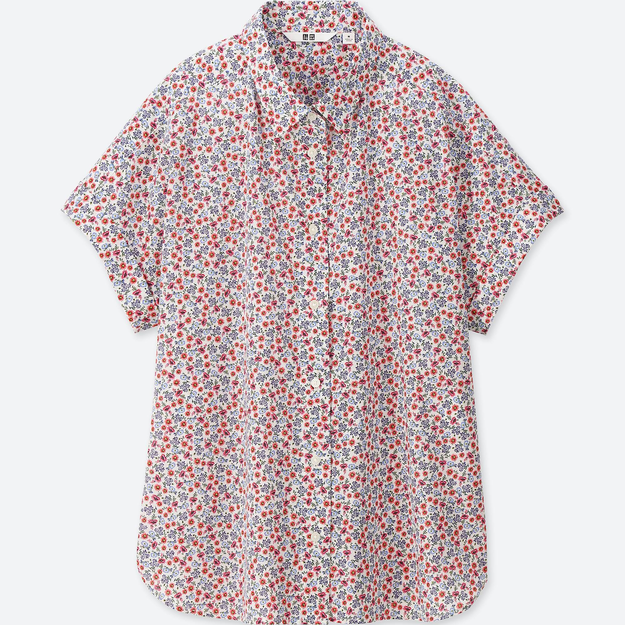 UNIQLO / Shirts And Blouses women soft cotton printed short-sleeve shirt