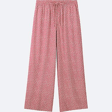 WOMEN FLORAL-PRINT DRAPE WIDE PANTS, PINK, medium