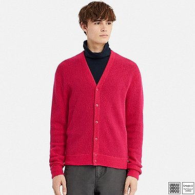 MEN U WOOL V-NECK LONG-SLEEVE CARDIGAN, PINK, medium