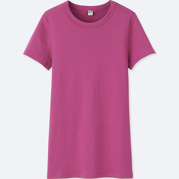 WOMEN SUPIMA® COTTON RIBBED CREWNECK SHORT-SLEEVE T-SHIRT, PINK, large