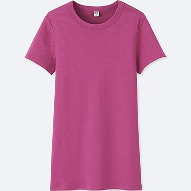 WOMEN SUPIMA® COTTON RIBBED CREWNECK SHORT-SLEEVE T-SHIRT, PINK, medium