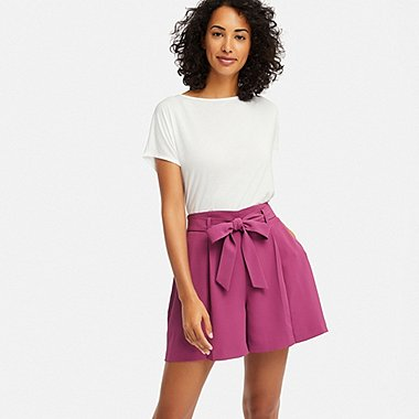 WOMEN DRAPE SHORTS, PINK, medium