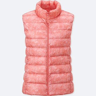 WOMEN ULTRA LIGHT DOWN PRINTED VEST, PINK, medium