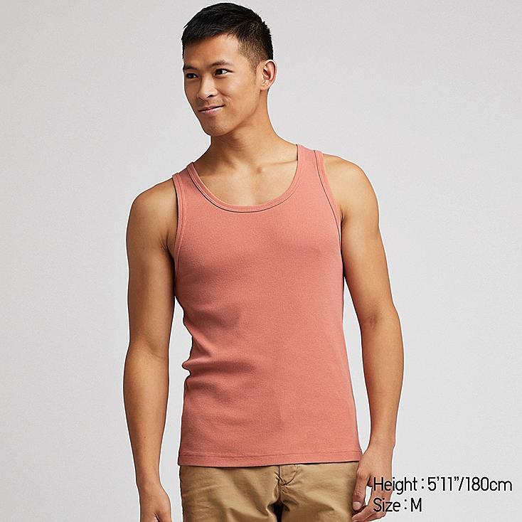 MEN PACKAGED DRY RIBBED TANK TOP, PINK, large