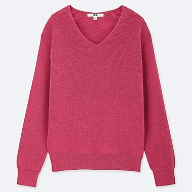 WOMEN COTTON CASHMERE V-NECK SWEATER, PINK, medium