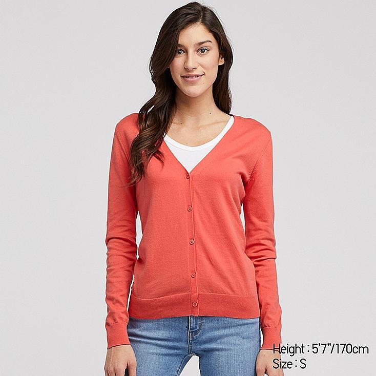 WOMEN UV CUT SUPIMA® COTTON V-NECK CARDIGAN, PINK, large