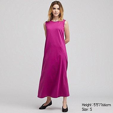 WOMEN MERCERISED COTTON A-LINE SLEEVELESS MAXI DRESS