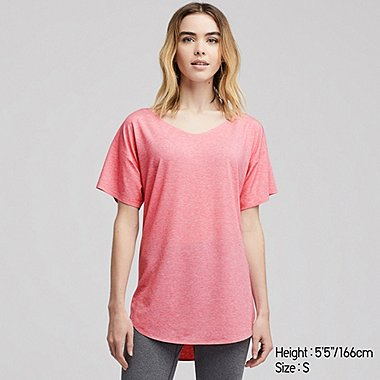 WOMEN AIRism SEAMLESS V-NECK LONG T-SHIRT, PINK, medium