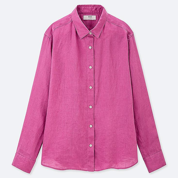 WOMEN PREMIUM LINEN LONG-SLEEVE SHIRT, PINK, large