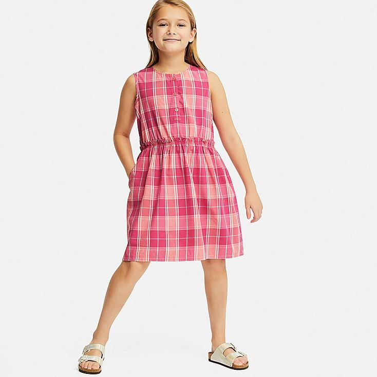 GIRLS CHECKED SLEEVELESS DRESS, PINK, large