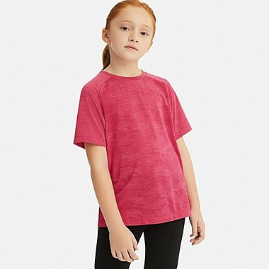 KIDS DRY-EX CREW NECK SHORT-SLEEVE T-SHIRT, PINK, medium