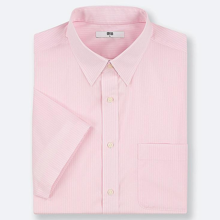 MEN DRY EASY CARE STRIPED SHORT-SLEEVE SHIRT (ONLINE EXCLUSIVE), PINK, large