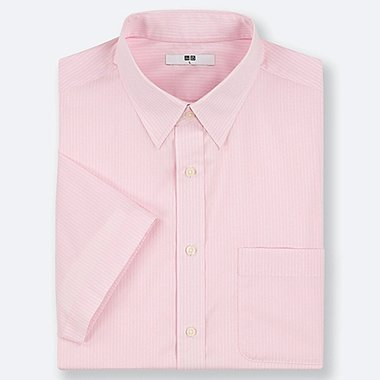 MEN DRY EASY CARE STRIPED SHORT-SLEEVE SHIRT (ONLINE EXCLUSIVE), PINK, medium