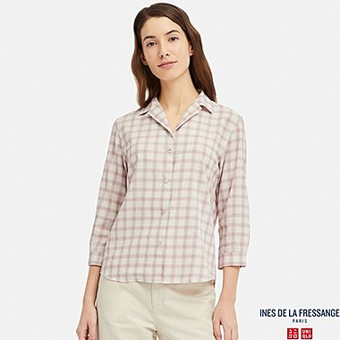 WOMEN HIGH TWIST COTTON OPEN COLLAR 3/4 SLEEVE SHIRT (INES DE LA FRESSANGE), PINK, medium