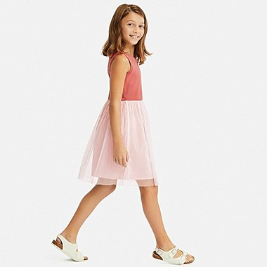 GIRLS TULLE SLEEVELESS DRESS, PINK, medium