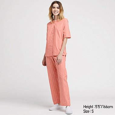 WOMEN LINEN BLEND SHORT SLEEVE STRIPED PYJAMAS