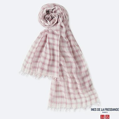 WOMEN COTTON SILK CHECKED STOLE (INES DE LA FRESSANGE), PINK, medium