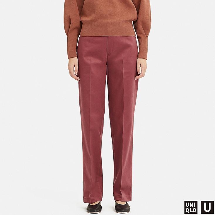 WOMEN U COTTON STRAIGHT PANTS, PINK, large