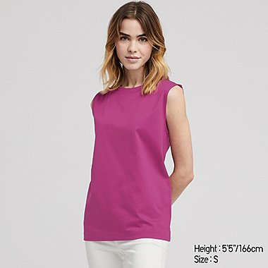 WOMEN MERCERIZED COTTON SLEEVELESS T-SHIRT, PINK, medium