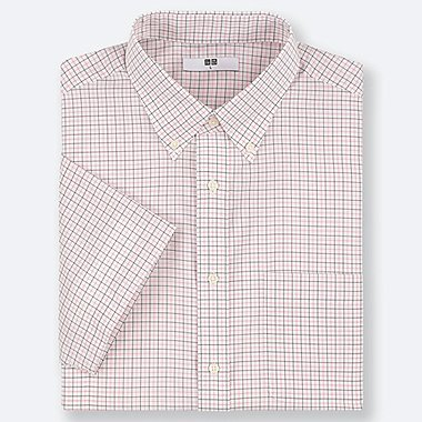 MEN DRY EASY CARE CHECKED SHORT-SLEEVE SHIRT (ONLINE EXCLUSIVE), PINK, medium